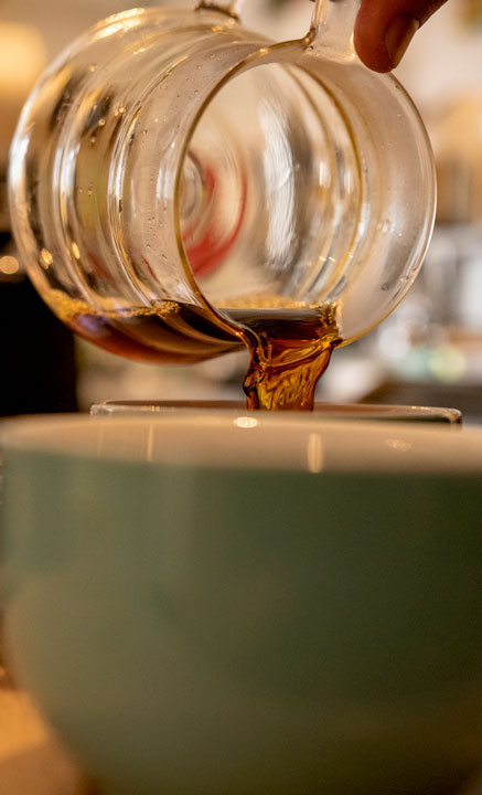 Pouring a filtered Coffee