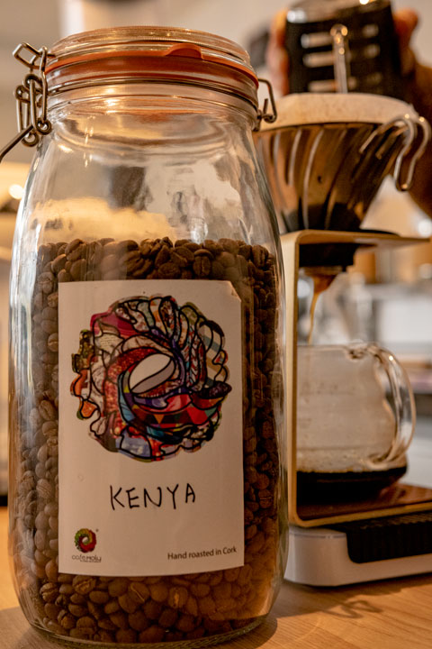Kenyan beans for sale at Cafe Moly